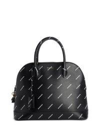 Balenciaga - Black Medium Allover Logo Leather Satchel With Water-repellent Coat - Lyst