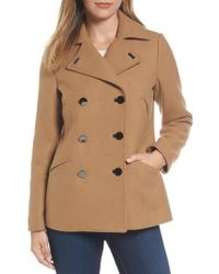 MICHAEL Michael Kors - Natural Double Breasted Wool Blend Coat - Lyst