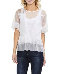 Vince Camuto White Tiered Ruffle Mesh Blouse