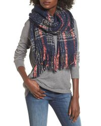 Sole Society Multicolor Speckled Check Blanket Scarf