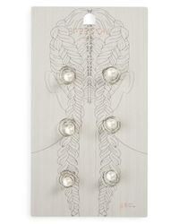 TOPSHOP | White Set Of 6 Imitation Pearl Swirl Rings | Lyst