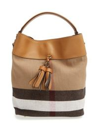 Burberry - Brown Medium Check Canvas Tote - Lyst