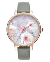 f9f6a9999 Lyst - Ted Baker Kate Print Dial Leather Strap Watch in Pink