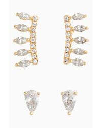 Nordstrom - Metallic Pave Set Of 2 Pear Marquise Ear Crawlers - Lyst