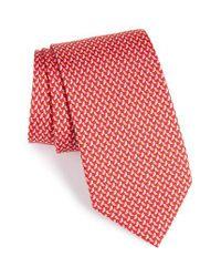 Ferragamo   Red Bird Print Silk Tie for Men   Lyst