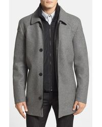 Vince Camuto Gray Melton Car Coat With Removable Bib for men