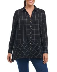 Foxcroft - Black Daniela Windowpane Tunic Shirt - Lyst