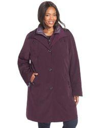 Gallery - Purple Two-tone Long Silk Look Raincoat - Lyst