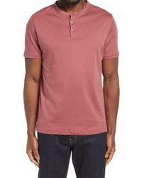 Robert Barakett Pink Georgia Solid Henley Shirt for men