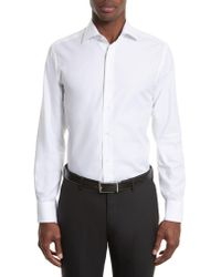 Canali - White Trim Fit Solid Dress Shirt for Men - Lyst