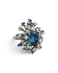 Oscar de la Renta - Blue Tiered Swarovski Crystal Ring - Lyst
