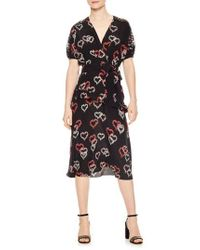 Sandro - Black Floral Hearts Silk Dress - Lyst