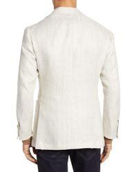 Ring Jacket Natural Trim Fit Herringbone Linen Sport Coat for men