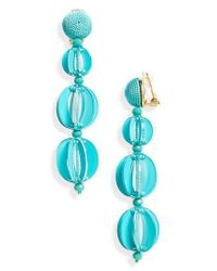 Oscar de la Renta - Blue Beaded Drop Earrings - Lyst