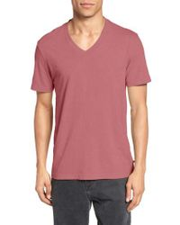 James Perse | Red Short Sleeve V-neck T-shirt for Men | Lyst