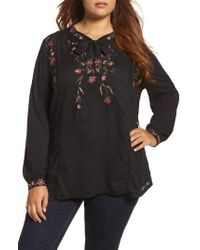 Lucky Brand | Black Floral Embroidered Top | Lyst