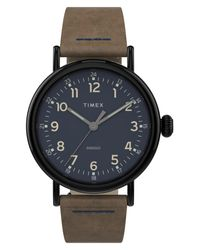 Timex Brown Timex Standard Leather Strap Watch