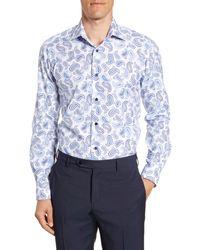 David Donahue Blue Trim Fit Paisley Dress Shirt for men