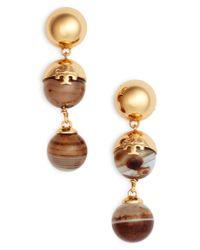 Tory Burch Metallic Logo Bead Linear Earrings