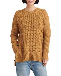 Alex Mill Brown Button Side Aran Wool Blend Sweater