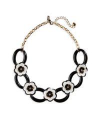 Kate Spade | Black Kate Spade Rose Posies Link Necklace | Lyst