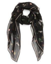 Alexander McQueen - Black Medieval Flower Silk Scarf - Lyst