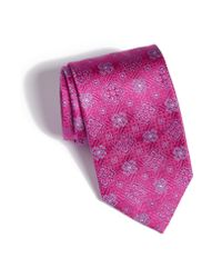 David Donahue - Pink Medallion Silk Tie for Men - Lyst