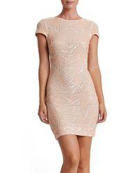 Dress the Population | Natural Tabitha Sequin Mesh Minidress | Lyst
