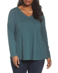 Eileen Fisher - Blue Organic Cotton V-neck Top - Lyst