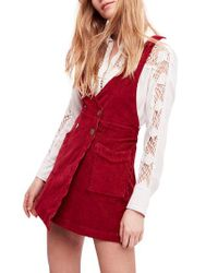 Free People Red Canyonlands Corduroy Pinafore Dress