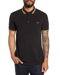 Fred Perry Black Contrast Tip Short Sleeve Polo Shirt for men