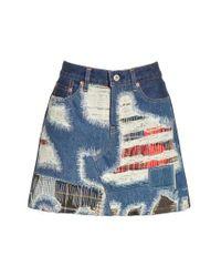 Junya Watanabe - Blue Distressed Patch Denim Miniskirt - Lyst