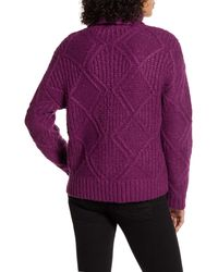 Caslon Purple Caslon Chunky Cable Knit Turtleneck Sweater