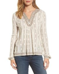 9da5f216262 Lyst - Lucky Brand Embroidered Drop Needle Top in Natural