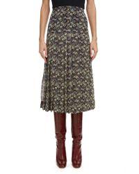 Victoria Beckham Multicolor High Waist Pleated Silk Skirt