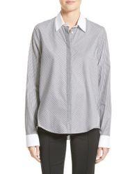 Adam Lippes - Gray Stripe Cotton Trapeze Shirt - Lyst