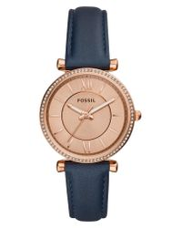 Fossil Metallic Carlie Leather Strap Watch