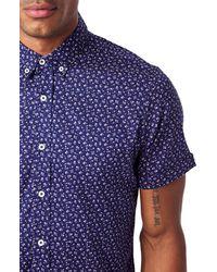 7 Diamonds Blue Spring Splendor Slim Fit Short Sleeve Button-down Sport Shirt for men