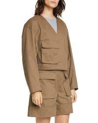 Tibi Brown Myriam Crop Stretch Twill Jacket