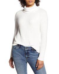 Caslon White Caslon Cozy Relaxed Turtleneck Sweater
