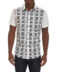 Robert Graham White Play The Keys Print Short Sleeve Sport Shirt for men