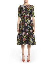 Lela Rose - Green Floral Matelasse A-line Dress - Lyst