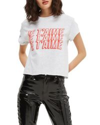TOPSHOP - Gray Je T'aime Graphic Crop Tee - Lyst