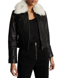 Reiss Black Shellie Leather Jacket With Genuine Shearling Collar