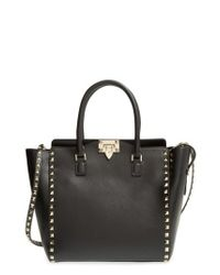 Valentino | Black 'rockstud' Leather Double Handle Tote | Lyst