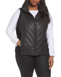 Eileen Fisher - Black Merino Wool Trim Puffer Vest - Lyst