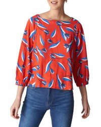 Whistles Red Tulip Print Linen Top