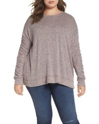Caslon - Multicolor Caslon Ruched Sleeve Cozy Pullover - Lyst