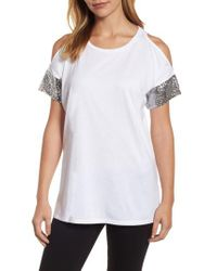 e31b9afa38762 Lyst - MICHAEL Michael Kors Sequin Sleeve Cold Shoulder Top in White