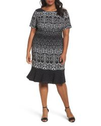 Adrianna Papell | Black Lace Majesty Print Fit & Flare Dress | Lyst